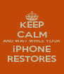 KEEP CALM AND WAIT WHILE YOUR iPHONE RESTORES - Personalised Poster A4 size