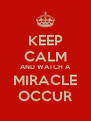 KEEP CALM AND WATCH A MIRACLE OCCUR - Personalised Poster A4 size