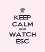 KEEP CALM AND WATCH ESC - Personalised Poster A4 size