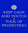 KEEP CALM AND WATCH US FUCK UP PROMOTION - Personalised Poster A4 size