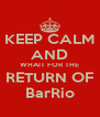 KEEP CALM AND WHAIT FOR THE RETURN OF BarRio - Personalised Poster A4 size