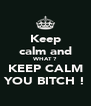 Keep calm and WHAT ? KEEP CALM YOU BITCH ! - Personalised Poster A4 size