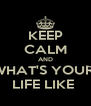 KEEP CALM AND WHAT'S YOUR  LIFE LIKE  - Personalised Poster A4 size