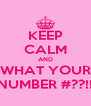 KEEP CALM AND WHAT YOUR NUMBER #??!! - Personalised Poster A4 size