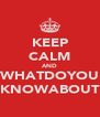 KEEP CALM AND WHATDOYOU KNOWABOUT - Personalised Poster A4 size