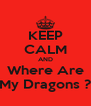 KEEP CALM AND Where Are My Dragons ? - Personalised Poster A4 size