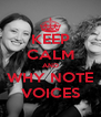 KEEP CALM AND WHY NOTE VOICES - Personalised Poster A4 size