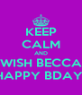 KEEP CALM AND WISH BECCA HAPPY BDAY! - Personalised Poster A4 size