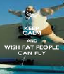 KEEP CALM AND WISH FAT PEOPLE CAN FLY - Personalised Poster A4 size
