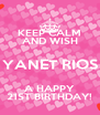 KEEP CALM AND WISH YANET RIOS A HAPPY 21ST BIRTHDAY! - Personalised Poster A4 size