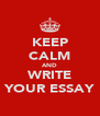 KEEP CALM AND WRITE YOUR ESSAY - Personalised Poster A4 size