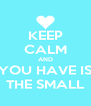 KEEP CALM AND YOU HAVE IS THE SMALL - Personalised Poster A4 size