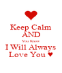 Keep Calm AND You Know I Will Always Love You ♥ - Personalised Poster A4 size