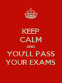 KEEP CALM AND YOU'LL PASS YOUR EXAMS - Personalised Poster A4 size