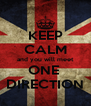 KEEP CALM and you will meet ONE  DIRECTION - Personalised Poster A4 size