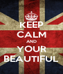 KEEP CALM AND YOUR BEAUTIFUL - Personalised Poster A4 size