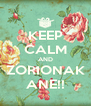 KEEP CALM AND ZORIONAK ANE!! - Personalised Poster A4 size