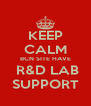 KEEP CALM BCN SITE HAVE  R&D LAB SUPPORT - Personalised Poster A4 size
