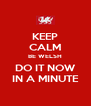 KEEP CALM BE WELSH DO IT NOW IN A MINUTE - Personalised Poster A4 size