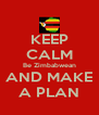 KEEP CALM Be Zimbabwean AND MAKE A PLAN - Personalised Poster A4 size