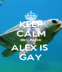 KEEP CALM BECAUSE ALEX IS  GAY - Personalised Poster A4 size