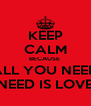 KEEP CALM BECAUSE  ALL YOU NEED NEED IS LOVE - Personalised Poster A4 size