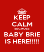 KEEP CALM BECAUSE BABY BRIE IS HERE!!!!! - Personalised Poster A4 size