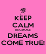 KEEP CALM BECAUSE DREAMS COME TRUE! - Personalised Poster A4 size