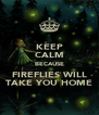 KEEP CALM BECAUSE FIREFLIES WILL TAKE YOU HOME - Personalised Poster A4 size