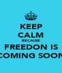 KEEP CALM BECAUSE FREEDON IS COMING SOON - Personalised Poster A4 size