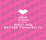 KEEP CALM BECAUSE  GIRLS ARE BETTER THAN BOYS - Personalised Poster A4 size