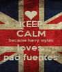 KEEP CALM because harry styles loves  pao fuentes - Personalised Poster A4 size