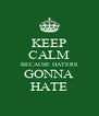 KEEP CALM BECAUSE HATERS GONNA HATE - Personalised Poster A4 size