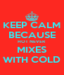 KEEP CALM BECAUSE HOT NEVER MIXES WITH COLD - Personalised Poster A4 size