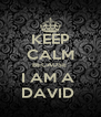 KEEP CALM BECAUSE  I AM A  DAVID  - Personalised Poster A4 size