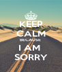 KEEP CALM BECAUSE  I AM  SORRY - Personalised Poster A4 size