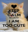 KEEP CALM BECAUSE I AM TOO CUTE - Personalised Poster A4 size