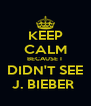 KEEP CALM BECAUSE I  DIDN'T SEE J. BIEBER  - Personalised Poster A4 size