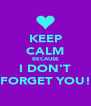 KEEP CALM BECAUSE I DON'T FORGET YOU! - Personalised Poster A4 size