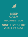 KEEP CALM BECAUSE I GOT NINE LIVES LIKE A KITTY CAT - Personalised Poster A4 size