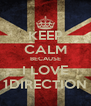 KEEP CALM BECAUSE I LOVE 1DIRECTION - Personalised Poster A4 size