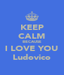 KEEP CALM BECAUSE I LOVE YOU Ludovico - Personalised Poster A4 size
