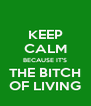KEEP CALM BECAUSE IT'S THE BITCH OF LIVING - Personalised Poster A4 size