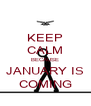 KEEP CALM BECAUSE JANUARY IS COMING - Personalised Poster A4 size