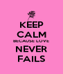 KEEP CALM BECAUSE LOVE NEVER FAILS - Personalised Poster A4 size