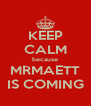 KEEP CALM because MRMAETT IS COMING - Personalised Poster A4 size
