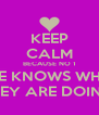 KEEP CALM BECAUSE NO 1 ELSE KNOWS WHAT  THEY ARE DOING  - Personalised Poster A4 size