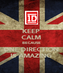 KEEP CALM BECAUSE ONE DIRECTION IS AMAZING - Personalised Poster A4 size