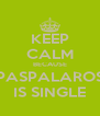 KEEP CALM BECAUSE PASPALAROS IS SINGLE - Personalised Poster A4 size