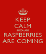 KEEP CALM BECAUSE RASPBERRIES ARE COMING - Personalised Poster A4 size